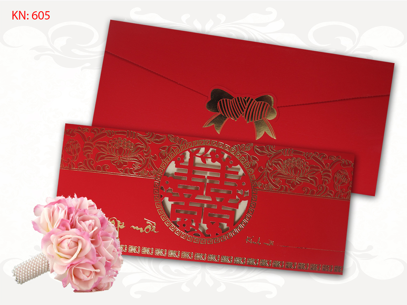Mẫu thiệp cưới truyền thốngMẫu thiệp cưới truyền thống KN 605